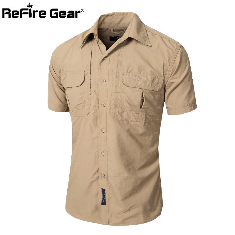 Summer Men Short Sleeve Military Shirt Lightweight Army Tactical Cargo Shirts Casual Brand Clothing Breathable Quick Dry Shirt