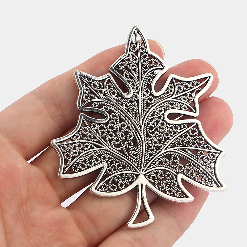 5Pcs Large Grape leaves Charms Pendants Silver Tone Jewellery DIY Making Finding 74x63mm