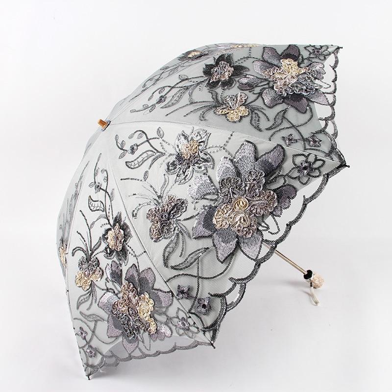 Dentelle Double couche broderie parapluies parapluie pluie femme noir caoutchouc Anti-UV trois-pliage soleil femme parapluies 1812