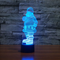Santa Claus Christmas 3D Lamp DECOR creative night Light 7 Colors Chaning cool lamp Atmosphere Light as Home Decoration