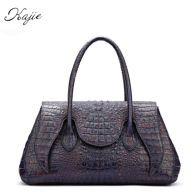 2018 Fashion Crocodile Genuine Leather Ladies Hand Bags Luxury Handbags Women Bag Designer Big Capacity Girls Crossbody Totes 2018 yuanyu 2016 new women crocodile bag women clutches leather bag female crocodile grain long hand bag