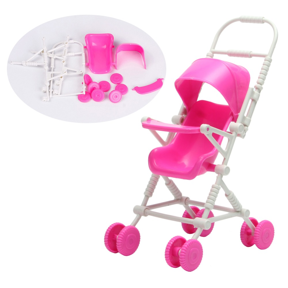 Assembly Baby Stroller Trolley Nursery Furniture Toys For Barbie Doll Pink