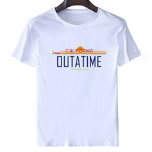 Retour vers le futur t-shirt hommes film californie plaque d'immatriculation OUTATIME T-Shirt hommes Aug 86 t-shirt été hauts blancs T-Shirt hip hop(China)