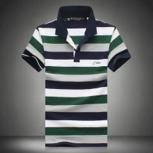 2017 Summer Fashion Men's Short Sleeve Polo shirts , High quality breathable mens casual striped POLO shirt Men big size