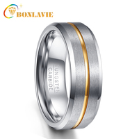 BONLAVIE 8mm Width Men Rings 100% Tungsten Carbide Jewelry Gold Line Silver Matte Surface Male Ring Wedding Bands 7/8/9/10/11/12