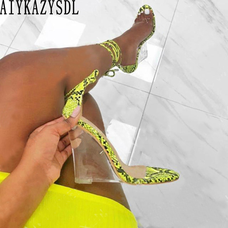 AIYKAZYSDL Women Neon Green Yellow Clear Wedge Heel Sandals