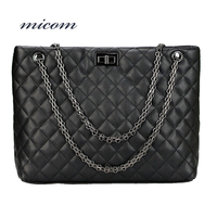 Micom Vintage Black Red Diamond Lattice Quilted Metal Chain Strap Tote Bag Women Square Style Leather