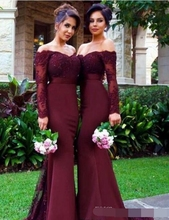 2019 Burgundy Long Sleeve Mermaid Bridesmaid Dresses Lace Appliques Off the Shoulder Maid of Honor Gown Custom vestido madrinha vestido sexy off shoulder lace applique beaded maid of honor party gowns 2018 cheap burgundy mermaid long bridesmaid dresses