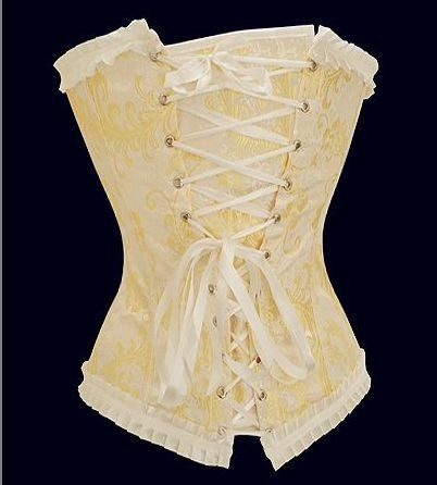 1d932f30e06 09Sexy Light Yellow Corset With White Lace Trims