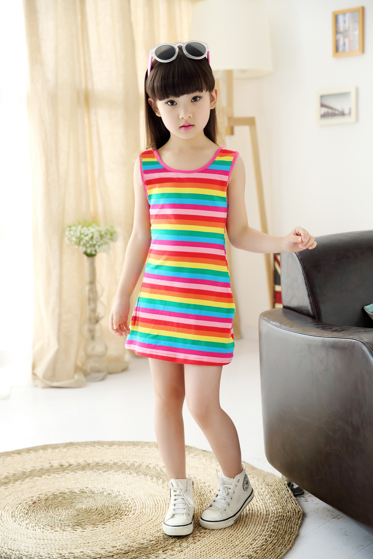 043869c0a Wholesale 3 4 5 7 8 10 11 12 15 Years Girls Stripe Seeveless Rainbow Cotton  Brand Summer Girl Dress Tutu Dresses For Girls-in Dresses from Mother &  Kids on ...
