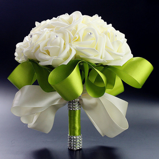 Bridal Wedding Bouquet High Quality White Green Rose Bouquet Wedding  Decoration Artificial Bridesmaid Flower Crystal Foam