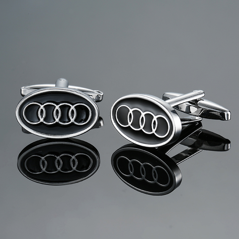 DY New high-end luxury car brand oval black circle Audi logo Cufflinks fashion Mens French shirt Cufflinks free shipping