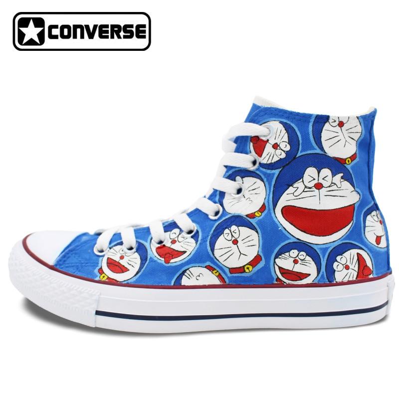 Prix pour Anime Converse All Star Hommes Femmes Chaussures Doraemon Conception Peint À La Main Chaussures Garçons Filles Bleu High Top Sneakers De Noël Cadeaux
