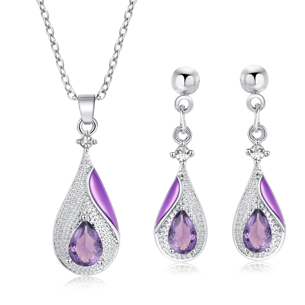 Luxury Winter New Style Water Drop Crystal Jewelry Sets Multicolor Silver Earrings Necklaces For Women Exquisite Jewelry Gifts