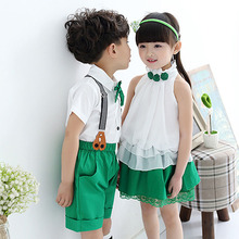 Kids Summer School Uniform Class Suit Bow T-shirt Skirt Bib Pants 2pcs Baby Boy Girl Choral Uniforms Children Clothing Set