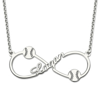 Wholesale Personalized Infinity Baseball Name Necklace Sterling Silver Baseball Pendant Fashion Jewelry