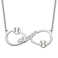 Wholesale Personalized Infinity Baseball Name Necklace Sterling Silver Baseball Pendant Fashion Jewelry