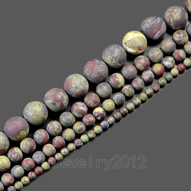 US $16 97 10% OFF|5Strands/Pack Natural Matte Dragon Bloodstone Gem stone  Round Spacer Loose Beads 15'' 4mm 6mm 8mm 10mm 12mm Wholesale-in Beads from