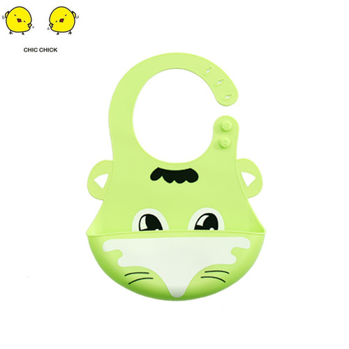 Cartoon Prints Baby Silicone Feeding Bib Kids Adjustable Waterproof Tools Boy Girl Bibs Apron