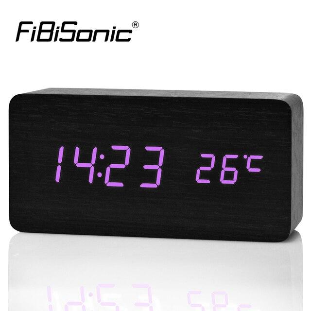 FiBiSonic Mise À Niveau LED Réveils, Despertador Température Sons Contrôle LED Affichage De Bureau Horloges De Table Numérique