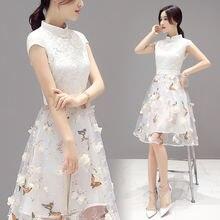 Женское платье с вышивкой элегантное Сетчатое цветочным принтом