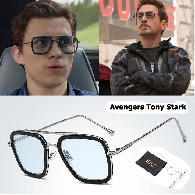 DPZ NOVA Moda Estilo Óculos De Sol Dos Homens Do Homem Aranha Vingadores Tony Stark Vôo Praça de Design Da Marca Óculos de Sol Oculos de sol Retro