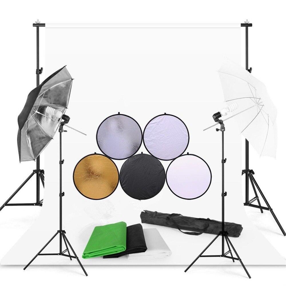 Studio Umbrella Light Kit With Background Stand Kit Durable Photography Lighting Kit Professional Light Stand Set jb300 pro premium grade light stand 2 8m stand with air cushion professional air cushioned light stand no00dc