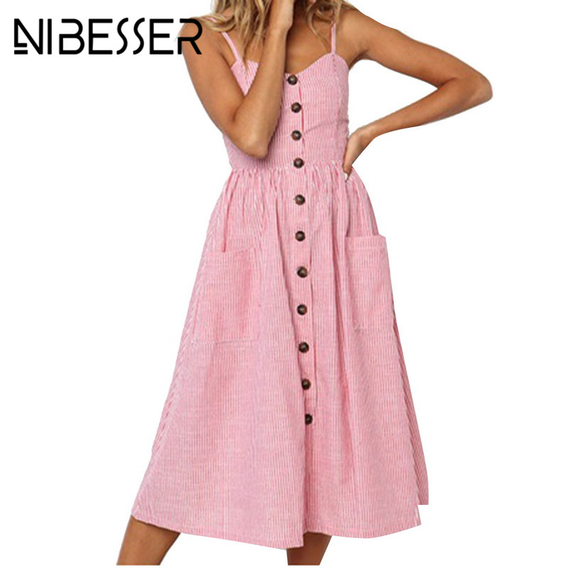 NIBESSER Striped Button Long Boho Beach Pockets Women Sundress Vestidos Sexy Casual Summer Strap Dress Elegant Daily Dess Female