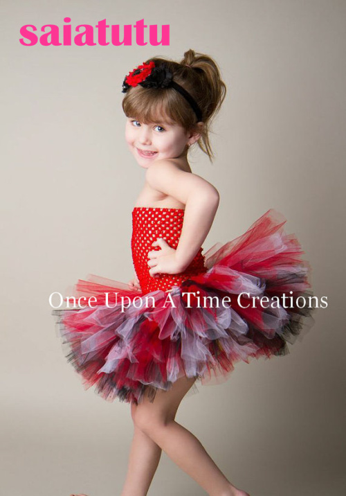 red tulle baby flower girl wedding dress fluffy birthday evening prom cloth ball gown party rainbow multicolour tutu dress ball gown sky blue open back with long train ruffles tiered crystals flower girl dress party birthday evening party pageant gown