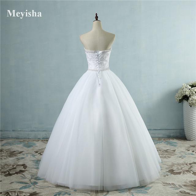 Online Shop ZJ9069 2017 White Ivory Lace Strapless Wedding dresses ...