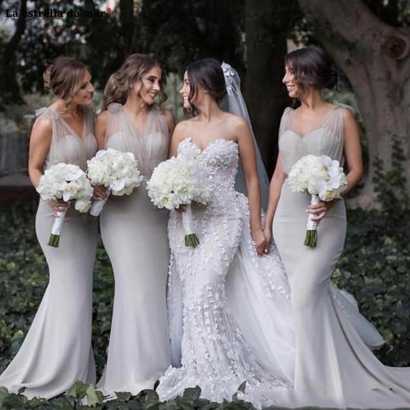 Elegant Sheer Tulle Mermaid   Bridesmaid     Dresses   For Western Country Garden Weddings New Silver Grey vestido de madrinha trailing