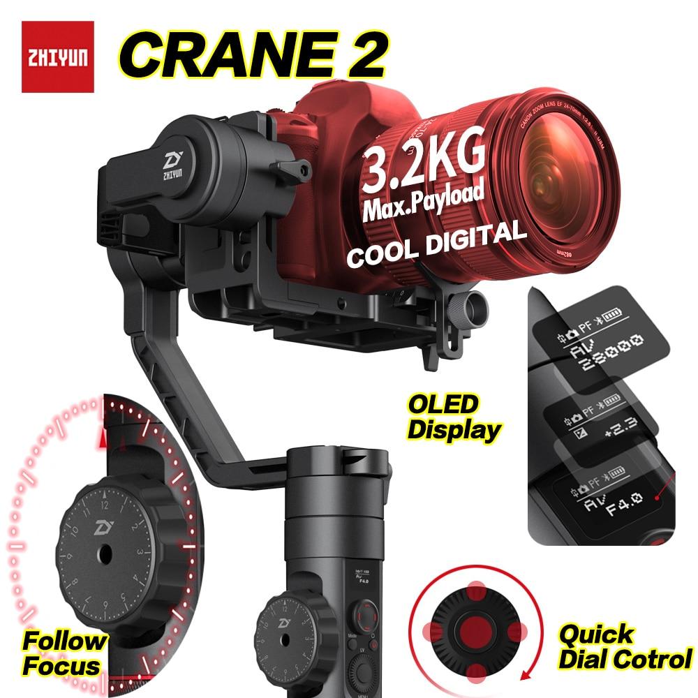 Zhiyun Crane 2 DSLR stabilisateur de cardan 3 axes sans brosse Kit de stabilisateur de caméra vidéo de poche pour caméra sans miroir charge 3200g