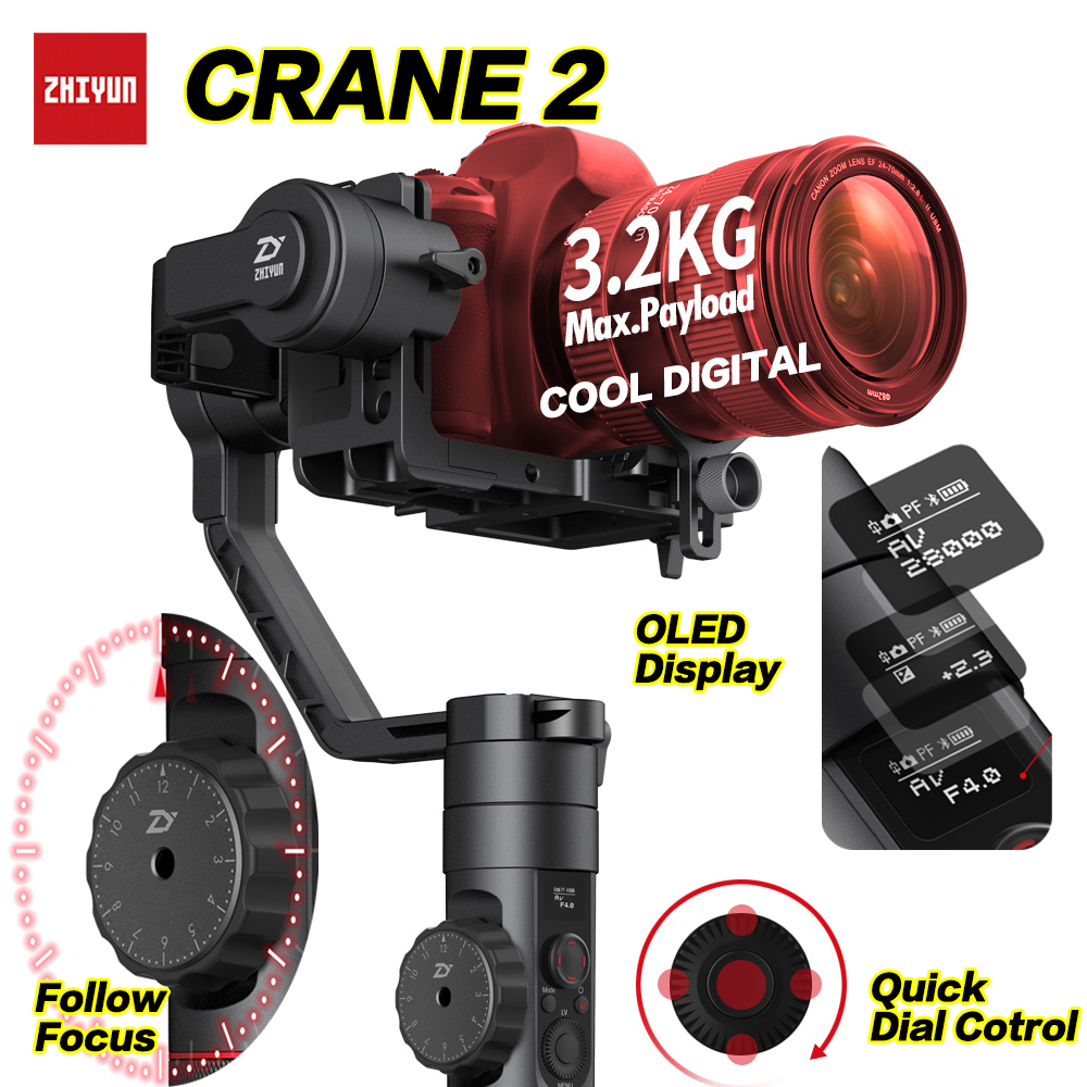 Zhiyun Crane 2 DSLR Gimbal Stabilizer 3 axis Brushless Handheld Video Camera Stabilizer Kit for Mirrorless Camera Load 3200g zhiyun crane m 3 axle handheld stabilizer gimbal remote controller case for dslr camera support 650g smartphone camera f19238 a