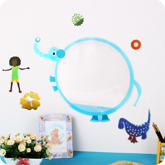 MIRROR STICKERS TOILET WALL BABY BEDROOM CARTOON ADHESIVES PVC FRESH 35*60cm