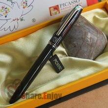 PICASSO 916 BLACK AND SILVER 22 KGP FINE NIB FOUNTAIN PEN ORIGINAL BOX