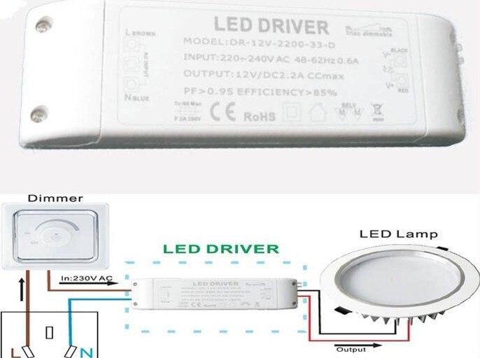 33w Triac Dimmable Led Driver Constant Voltage Dc12v 24v Ac110 230v Supply For Strip And Mr16 Spotlight