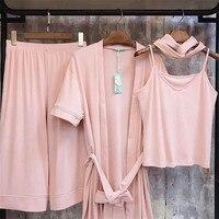 Women Pajamas 4pcs Set Sexy Imitation Full Cotton Pyjamas Set Loose Top + Pant+ Vest Simple Elastic Band Women Nightwear Shirt