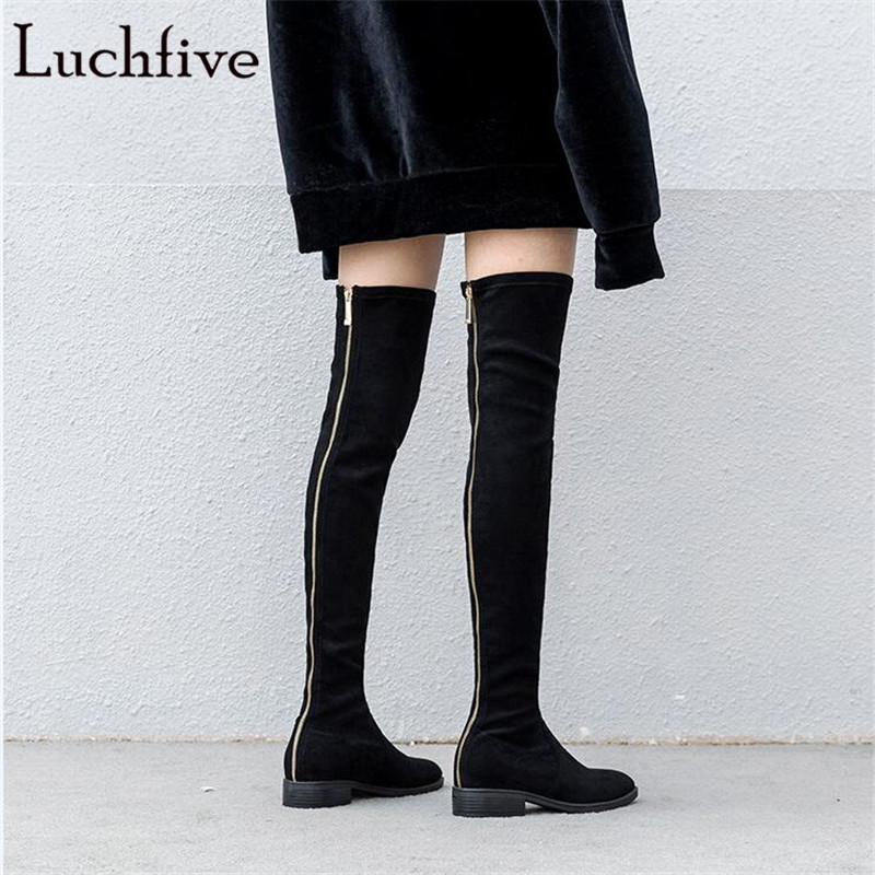 Stretch fabric over the knee boots sexy back zipper low heels shoes women round toe black khaki long boots elastic botas mujer stretch fabric over the knee boots sexy back zipper low heels shoes women round toe black khaki long boots elastic botas mujer