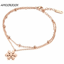 AMOURJOUX Fashion Gold Plating Frosted Snowflake Charm Leg Anklets For Women Ankle Bracelet Woman Anklet Female Foot Jewelry