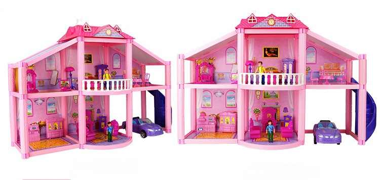 New 3D DIY Family Doll House Dolls Accessories Toy With Miniature Furniture Garage Car DIY Doll House Toys For Children Gifts