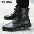 LIN REY Nuevo Estilo High Top Lace Up Men Fashion Martin botas de Hebilla de La Vendimia Hombre Zapatos Sólidos de Combate Del Ejército Militar Botas de Vaquero