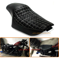 Motorcycle Driver Front Rear Passenger Seat Two Up Seat Black For Harley Sportster XL883 XL1200 Iron 48 72 , Custom 2010 2016