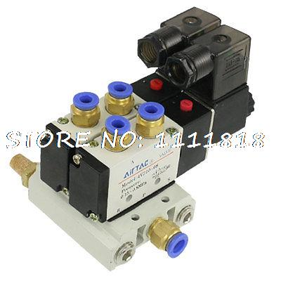 Pneumatic DC 12V 5 Way Twin Solenoid Valve w Base Push In Connectors Silencer