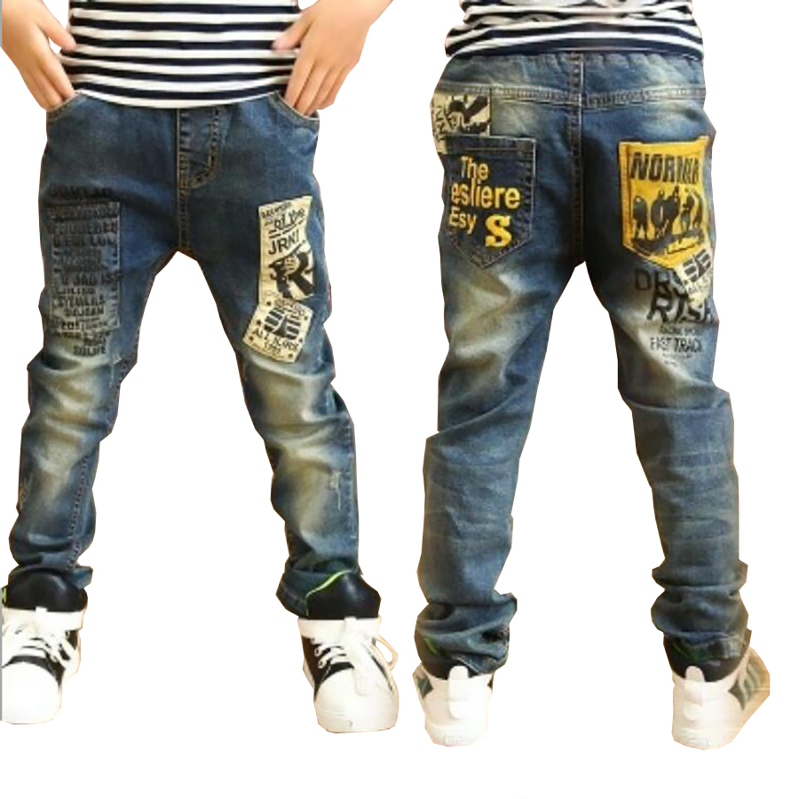 Children clothes boys long style cotton jeans 3-13 Y teenage Autumn spring denim trousers teenage boy trousers casual pants(China)