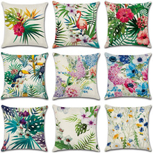 Tropical Plants Decorative Pillowcases Flamingo Cotton Linen Pillow Case Flowers Pillow Cover kussensloop almohada