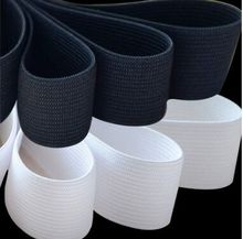16MM White/Black Colored Soft Knit Braided Elastic Webbing Band For Sewing Garment Accessories 43yards wide 2cm 3cm 5cm 10cm