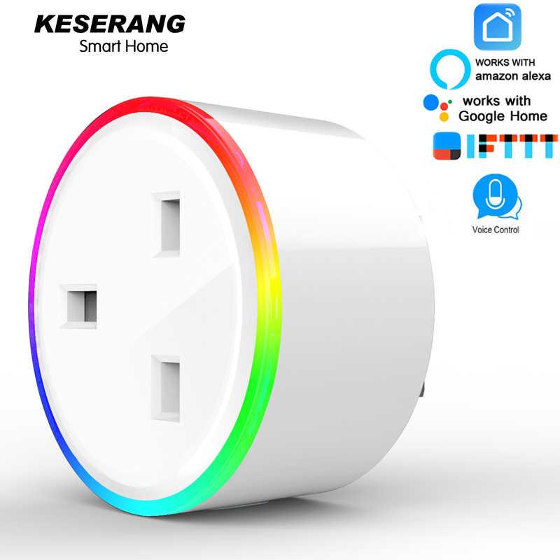 Keserang Smart Plug 10A UK Smart WIFI Socket 220 V, RGB LED Scene Mode, energi Pemantauan Timer Outlet Alexa, Google, Ifttt