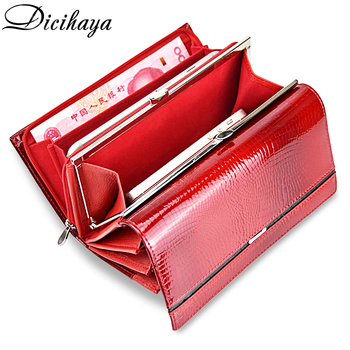 DICIHAYA Genuine Leather Women Wallet Multifunction Womens Clutch Wallets Brand Purses Femme Billetera Card Holder Phone Bag