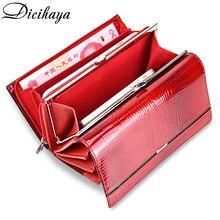 Everyja carteira feminina de couro legítimo, carteira multifuncional feita em couro legítimo com compartimento para cartões