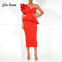 Spring Summer Party Dress One Shoulder Ruffle Dress 2018 Women Sexy Flounce Midi Dresses Elegant Empire